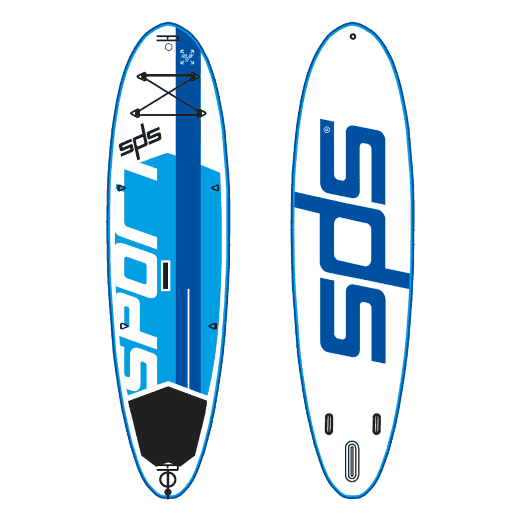 Sport is an inflatable SUP board prepared to support days and days of rentals and classes on the beach.